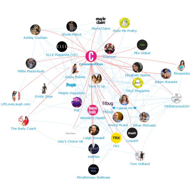 Onalytica - Health & Fitness - Cosmopolitan Network Map