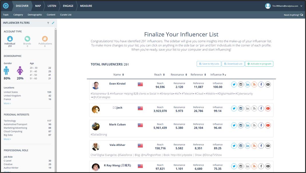Onalytica - New Influencer Discovery App Screenshot